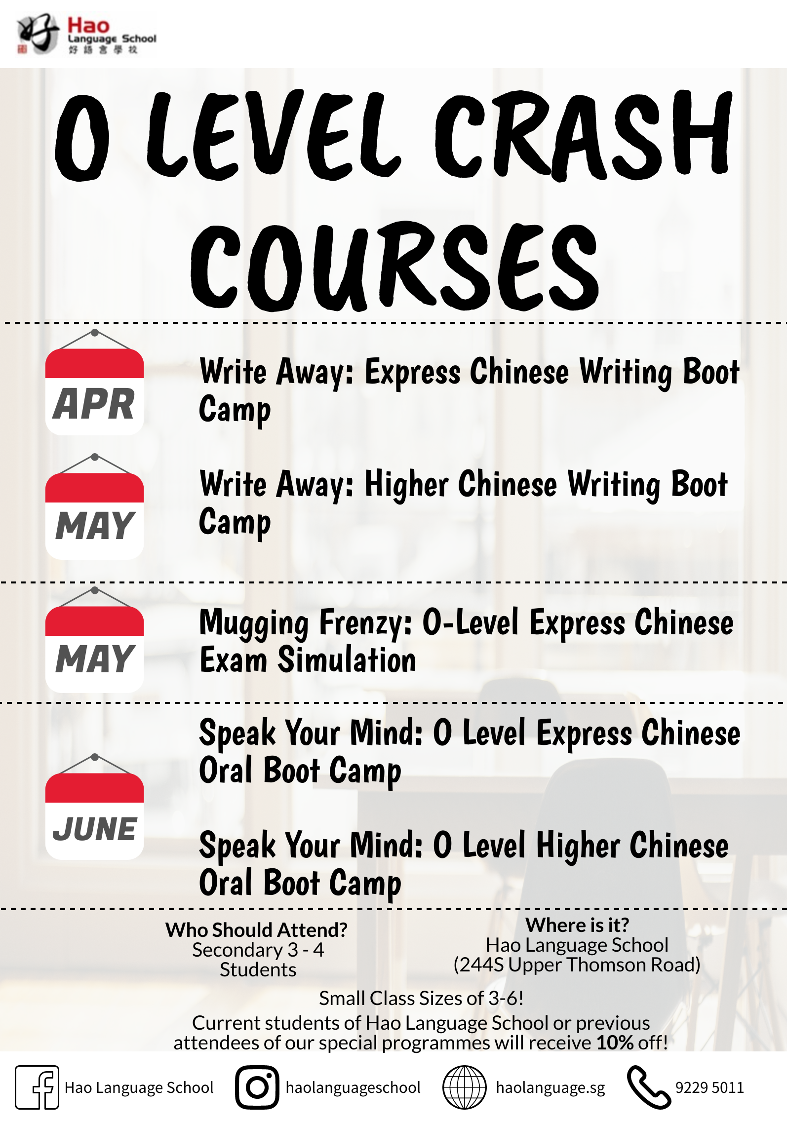 O Level Chinese Crash Courses Flyer